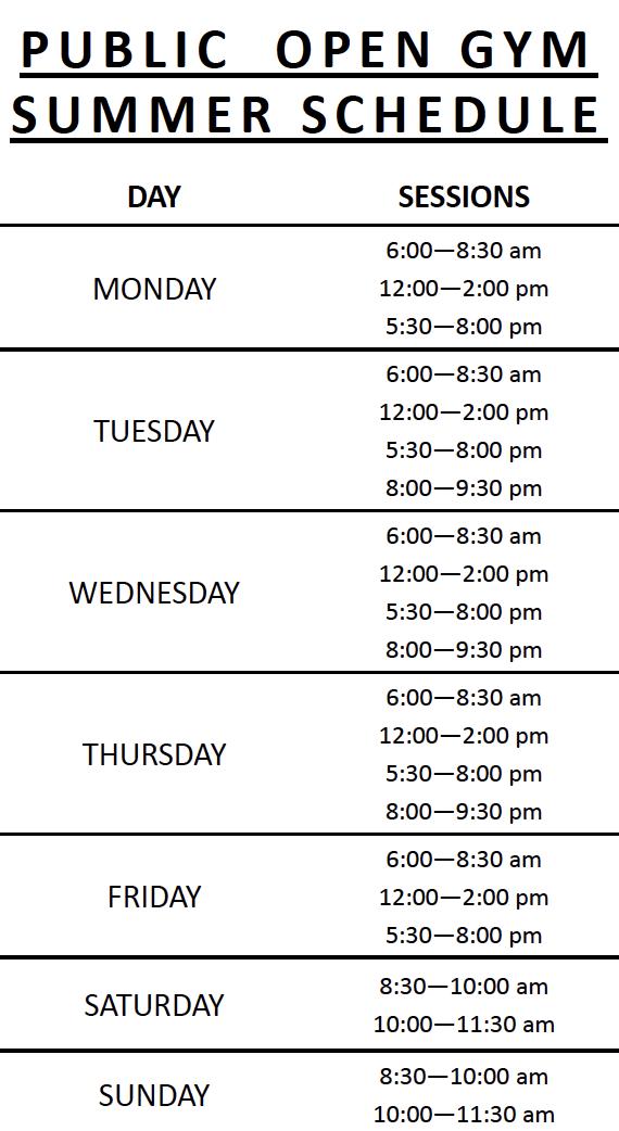Public Open Gym Summer Schedule